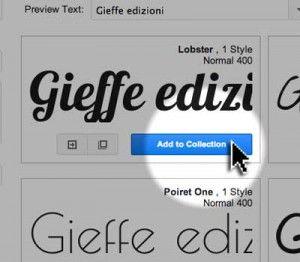 aggiungere il font alla collezione